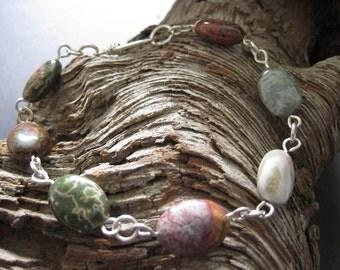 Ocean Jasper and Sterling Silver Bracelet