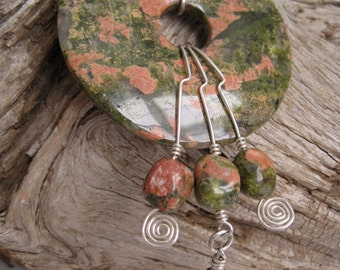 Unakite and Sterling Silver Necklace
