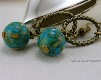 Blue Mosaic Turquoise and Brass Earrings