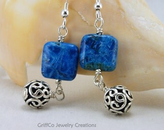 Blue Crazy Lace Agate and Sterling Earrings
