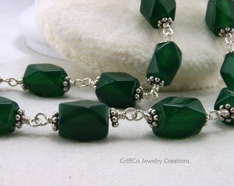 Green Jade and Sterling Necklace