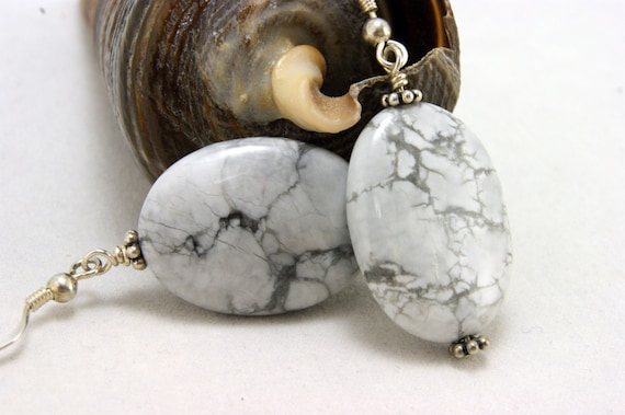 White Howlite Oval Earrings