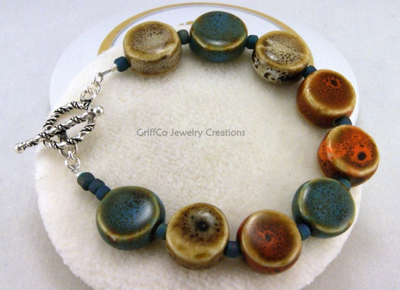 Warm Beach Colored Ceramic and Sterling Bracelet