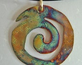 Life Goes On Copper Spiral Pendant
