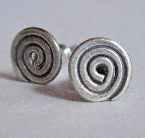 Silver Simple Spiral Earrings  on Post