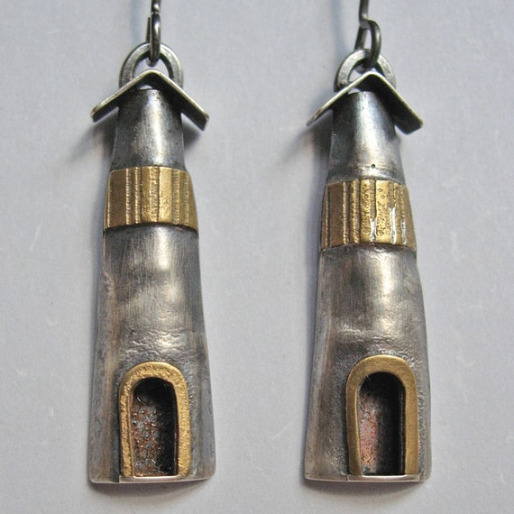 Light House Earrings Sterling Silver and Brass Construction
