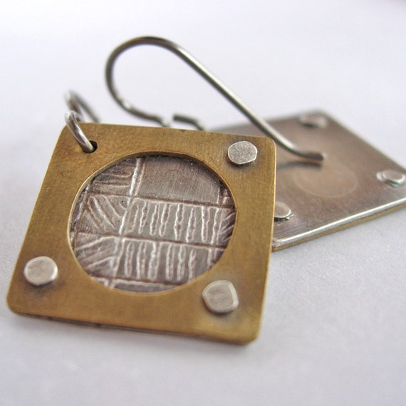 Silver and Brass Riveted Square Earrings