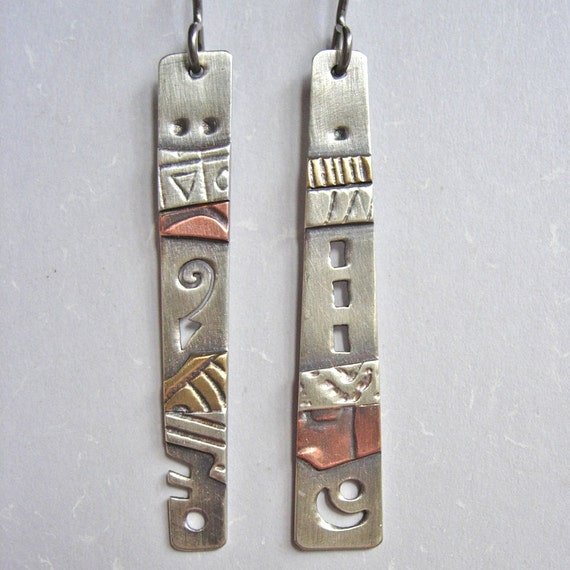 Silver Brass and Copper Mix and Match Earrings