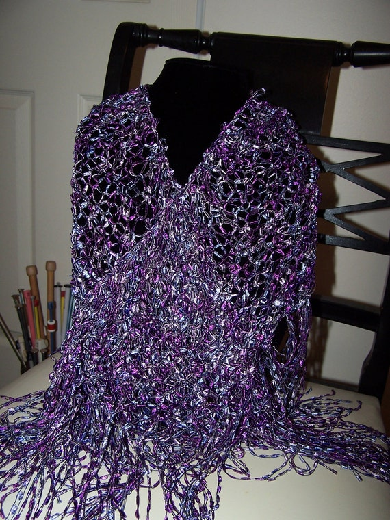 Hand Knit Shawl Triangle in Shades of Purple by WeeCatCreations