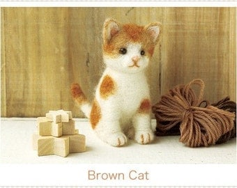 Japanese Felt Wool Cat Kit Packages Brown Cat DIY handmade Gift