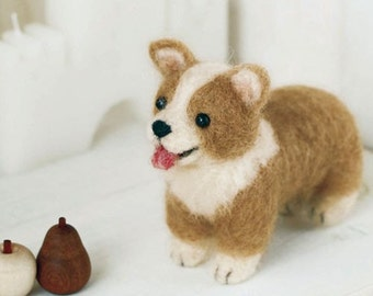 DIY handmade felt wool Corgi --- Japanese kit package