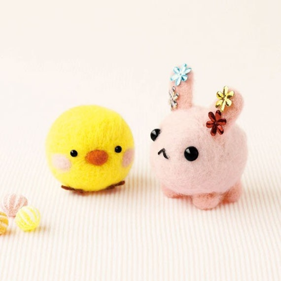 DIY handmade felt wool Bunny and Chick --- Japanese kit package