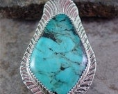 Handmade Sterling Silver Turquoise Pendant American Mined Turquoise by Lita