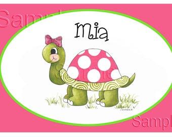 Personalized Kids Placemat ,Turtle, kids placemat, kitchen placemat, Laminate, Home decor, monogram