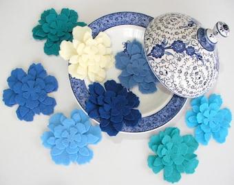 64 Piece Die Cut Felt Flowers-Blues (Cream,Ice blue,Patrol Blue, Light Blue, Indigo,Navy, Turquoise, Dark Blue)