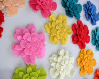 80 Piece Die Cut Felt Tattered Flower Shapes- Mixed Bright Colors