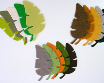 16 Piece Die Cut Felt Large Jungle Autumn Leaves