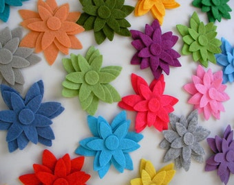 60 Piece Die Cut Felt Star Flower Shapes- Bright Colors For Spring, Easter Themes