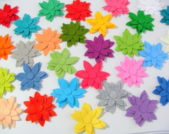 80 Piece Die Cut Felt Star Flower Shapes- Mixed Bright Colors For Spring