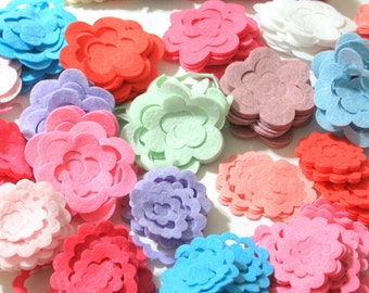 40 Piece Die Cut Unassembled Small Felt Rose- Flower Shapes- Pastel Colors For Spring, Easter Themes