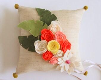 Beige Linen, Felt Pastel Colors (Coral, Beige) Flowered, Floral Wedding Ring Bearer Pillow
