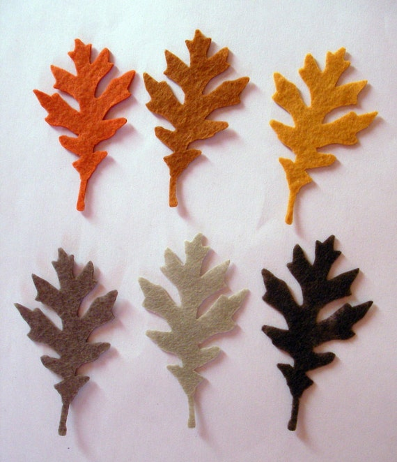 36 Piece Iron On-No Sew- Die Cut Felt Appliques-Leaves- Brown, Taupe, Walnut Brown,Citrin, Tan,Red Orange-Autumn Colors