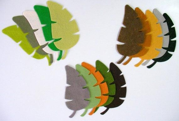 16 Piece Die Cut Felt Large Jungle Autumn Leaves