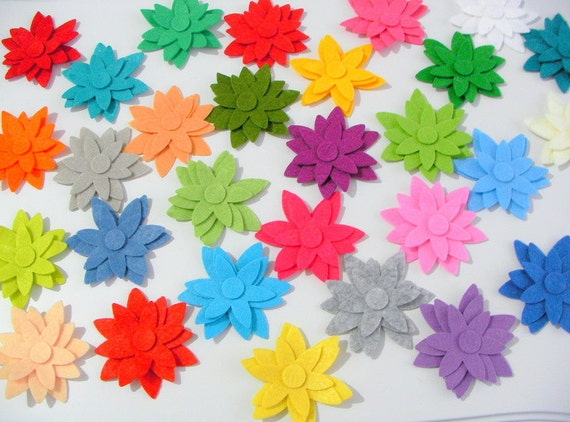 80 Piece Die Cut Felt Star Flower Shapes Mixed Bright Colors