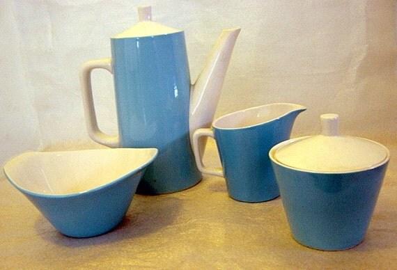 Primastone Ironstone Tea Pot Creamer Sugar Set light blue midcentury modern 4 pieces
