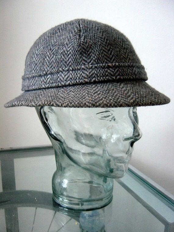 """Kangol Tweed wool herringbone Trilby Hat Cap Sherlock Holmes deerstalker size 7 medium 22"""" 57 cm  BBoy breakdance hat"""