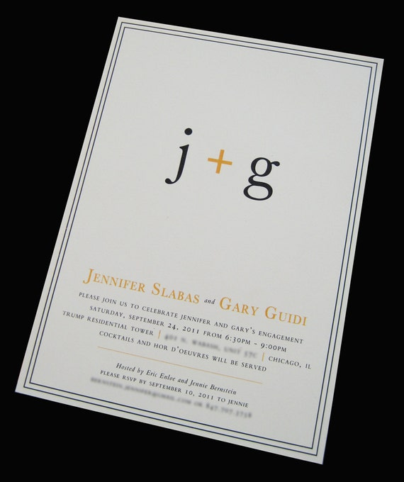 Couple's Initials Engagement Party Invitation