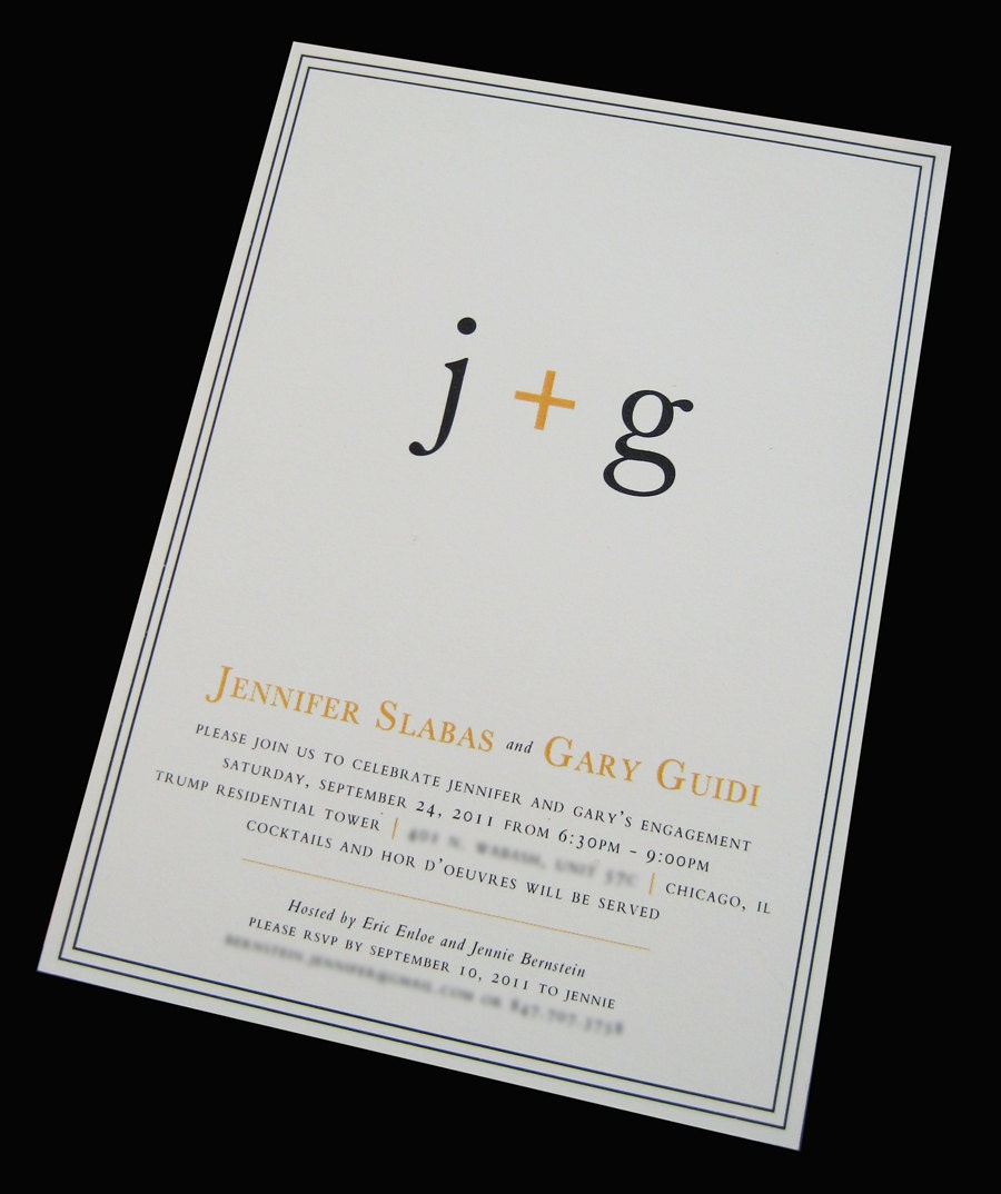 couple 39 s initials engagement party invitation. Black Bedroom Furniture Sets. Home Design Ideas