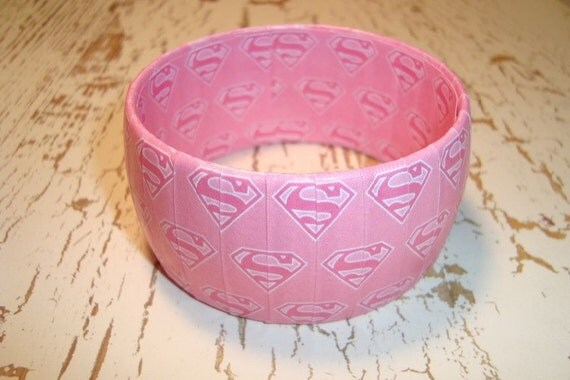 SuperGirl Paper wrapped bracelet Pink with Supergirl logo