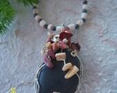"""Black River Rock Necklace---""""Rose Garden"""""""