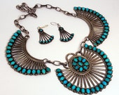 Antique Navajo Squash Blossom Necklace and Earring Set