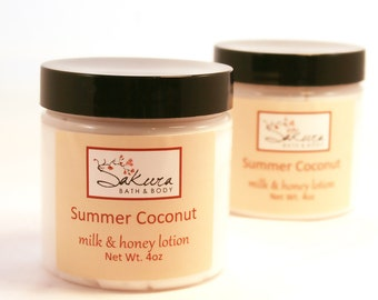 Summer Coconut Creamy Milk  and Honey Lotion with Shea Butter - Handmade Body Cream