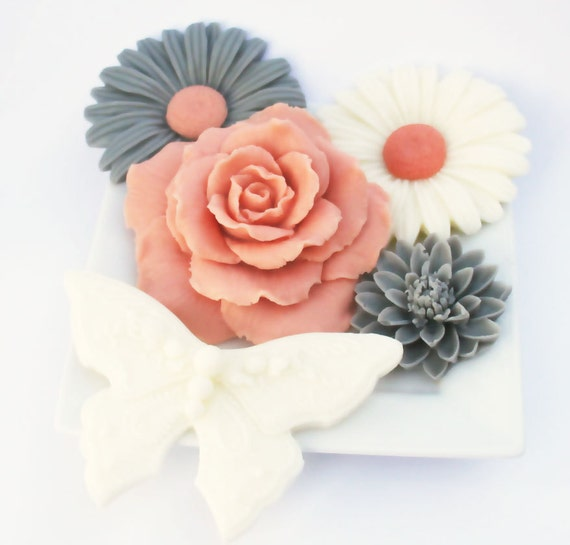 Autumn Soap - Decorative Soap Set - Daisy, Rose, and Butterfly Soaps Gift Set
