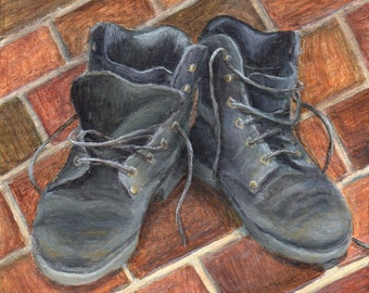 Small Acrylic Painting of Boots, Original Realistic Still Life Painting, Original Art on Wood Rustic Decor
