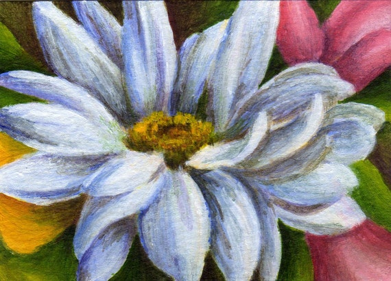 Small Acrylic Flower Painting - ACEO Floral Still Life - Spring Daisy Decor