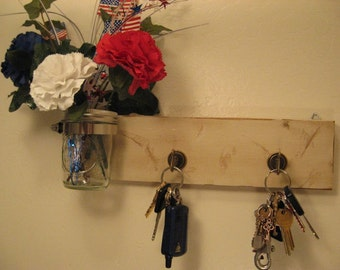 Shabby Chic Wooden Key Holder with Flower Jar