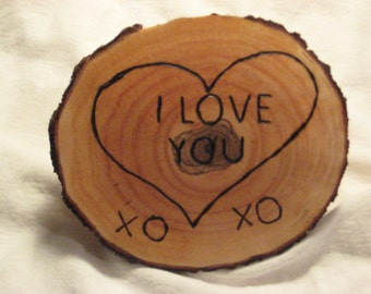 I Love You Rustic Wood Heart