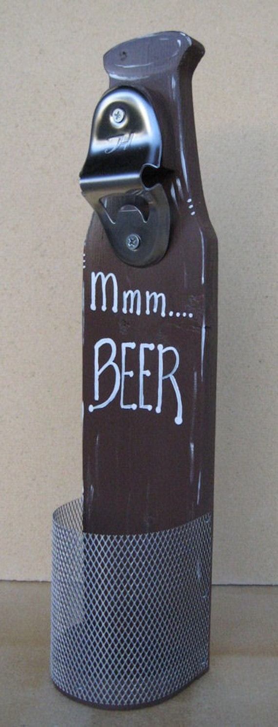 Wall mounted beer bottle opener with cap catcher mmm beer - Wall mounted beer bottle opener cap catcher ...