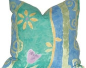 """Pillow Cover 18"""" X 18""""   Blue, Green, Yellow Indoor/Outdoor"""