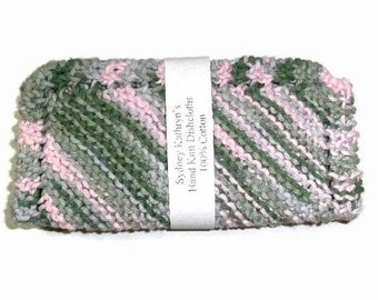 Pink Camouflage Hand Knit Dish Cloths Enjoy  Cleaning With Pink Cammo