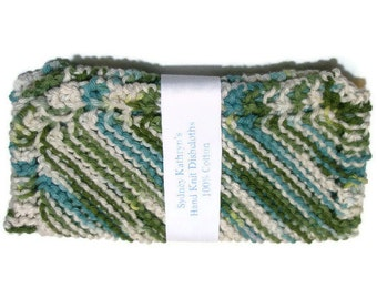 Fathers Day Gift, Mens Gift, Hand Knit Dish Cloths  Emerald Isle