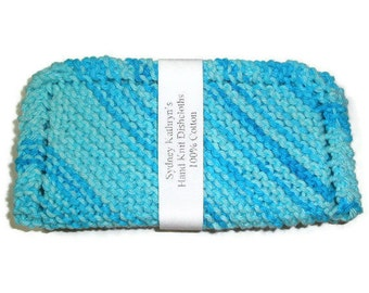 Hand Knit Dish Cloths Enjoy  Cleaning With Swimming Pool, Multicolored Turquoise