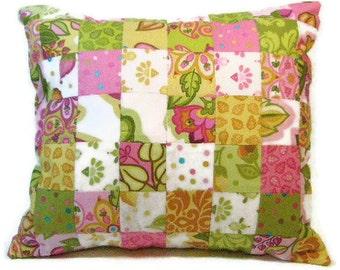 Patchwork Cushion, Pillow, Decorative Pillow Cover, Pink, Green, Gold Throw Pillow