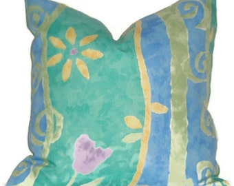 "Pillow Cover 18"" X 18""   Blue, Green, Yellow Indoor/Outdoor"