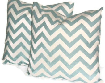 """Premier Prints Zig Zag in Village Blue and Natural Decorative Pillow Cover Set of Two 18"""" X 18""""   Throw Pillow, Cushion Cover, Home Decor"""