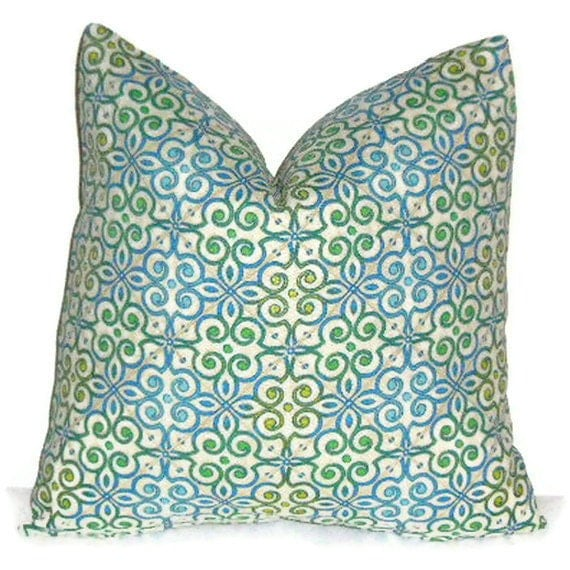"P Kaufmann Lifestyles Pillow Cover 18"" X 18"" , Taking Shape, Stained Glass , Cobalt Blue, Green, Turquoise"